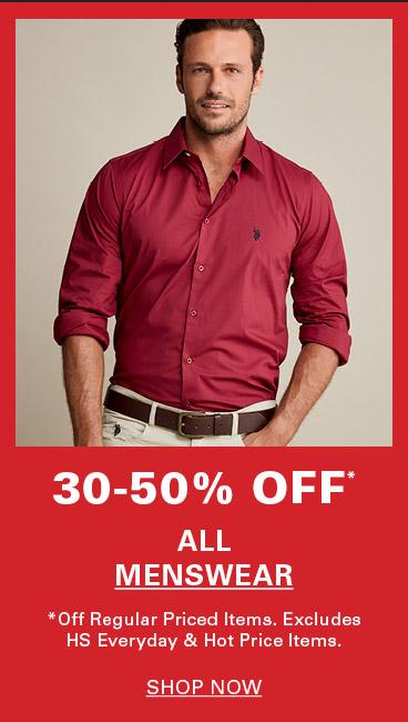 30-50% Off All Menswear