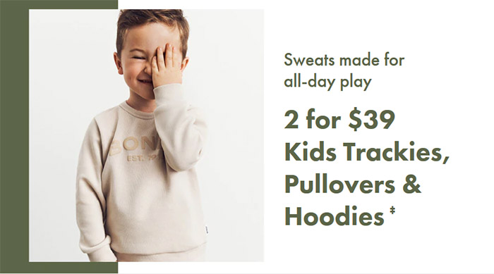 TRACKIES, HOODIES & PULLOVERS - 2 FOR $39