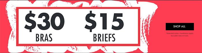 $15 Briefs & $30 Bras