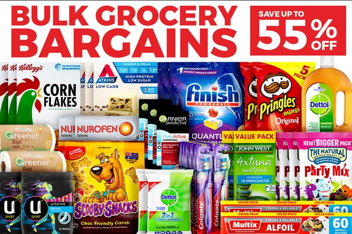 Bulk Grocery Bargains up to 55% off